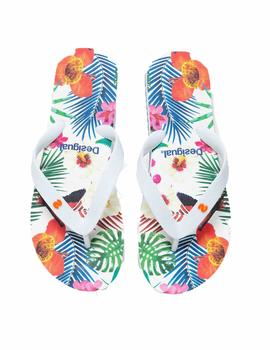 Chanclas Desigual Flip Flop_Tropical Blanco