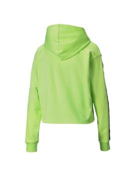 Sudadera Puma Mujer Amplified Cropped Verde Fluor